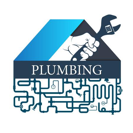 白い背景に隔離配管修理および配管システムのシンボル