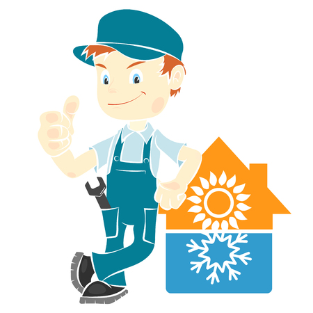 Repair man for installation and maintenance of air conditioning
