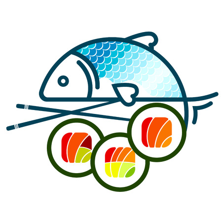 Sushi with different filling and fish vector isolated on a white background
