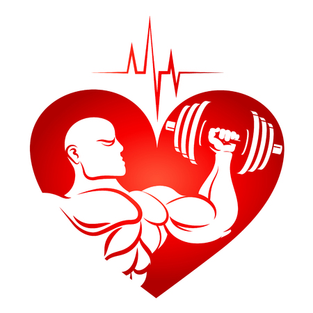 Athlete with dumbbells and heart rhythm isolated on a white background Vector Illustration