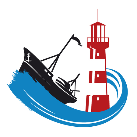 A fishing boat on a wave and a lighthouse silhouette Illustration