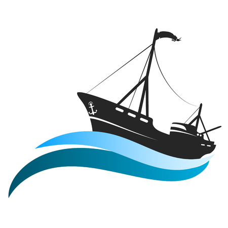 Fishing boat on the waves of the blue silhouette