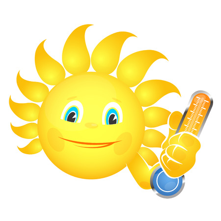 Cheerful sun and thermometer in hand