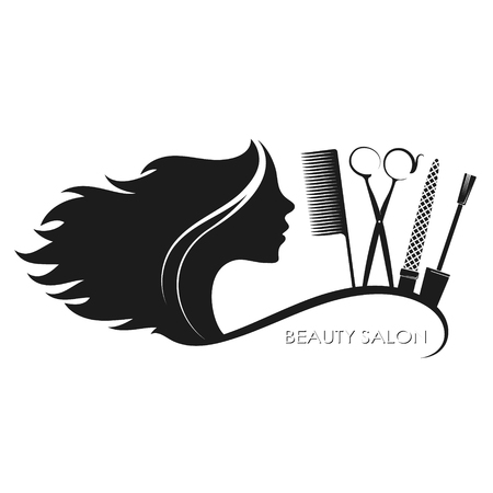 Beauty salon hairstyle and manicure silhouette for business Stock Illustratie