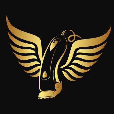 Haartrimmer en vleugels van gouden kleur