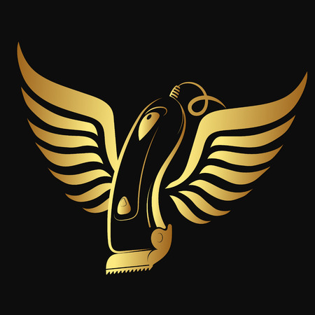 Hair clipper and wings of gold color