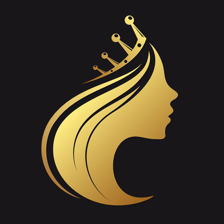 Profile of a girl with a crown of gold color 스톡 콘텐츠 - 104456632