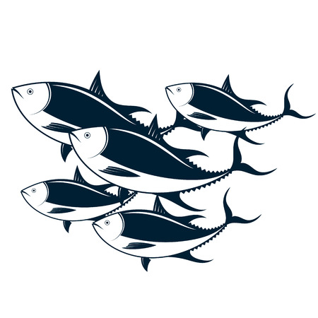 A flock of tuna in the sea vector Vettoriali