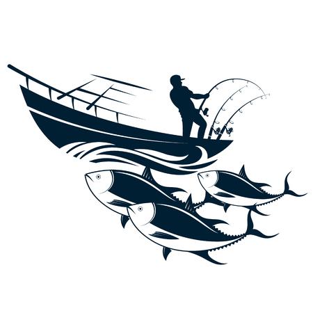 Pescador en un barco con cañas de pescar capturando atún Ilustración de vector