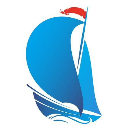 Navire avec voile sur le vecteur de vague Vecteurs