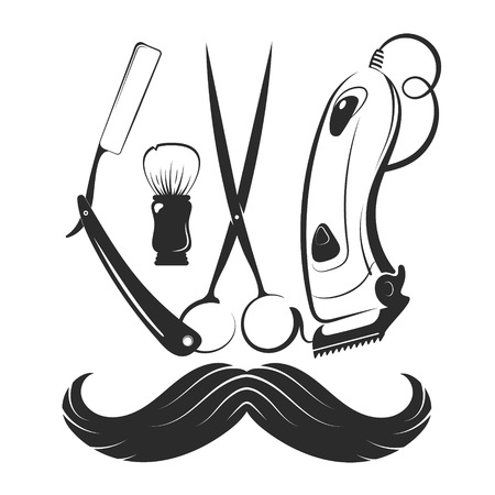 Barbershop tool symbol and mustache silhouette
