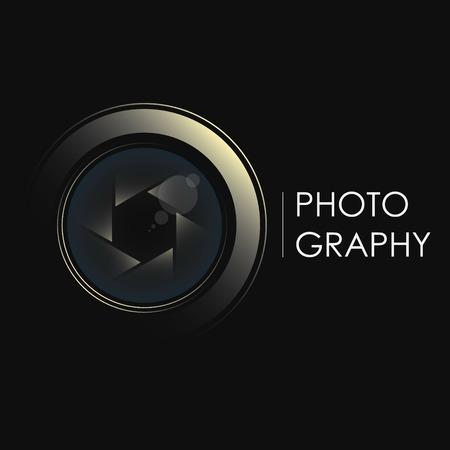 Koncepcja obiektywu aparatu dla symbolu fotografa