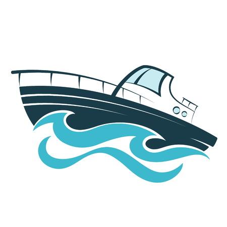 Barca sulla silhouette di onde Vettoriali