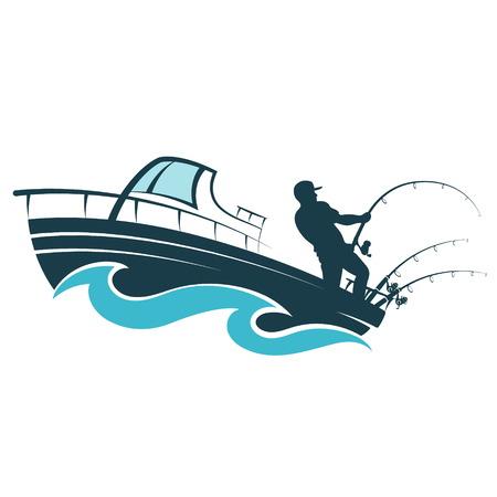 Pescador con una caña de pescar en una lancha a motor