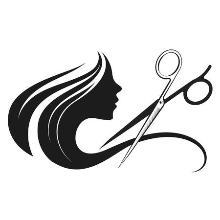 Perfil de una niña y unas tijeras de salón de belleza
