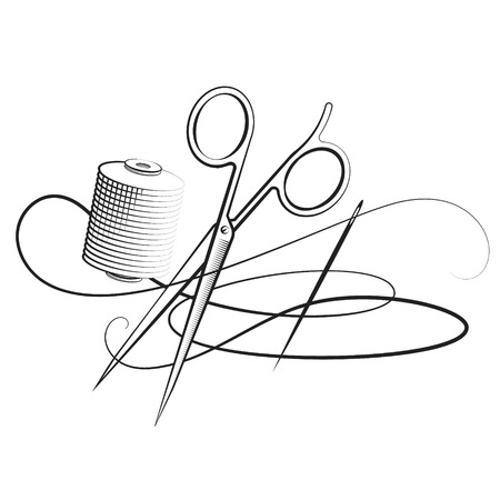 Scissors and needle and thread to sew silhouette and cutting