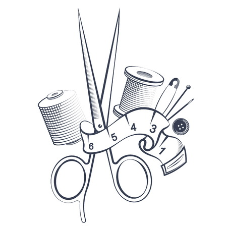 Scissors and thread for sewing tools silhouette