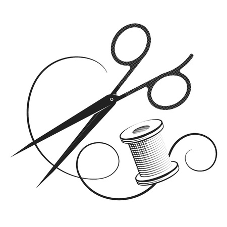 Scissors and thread reel for sewing Иллюстрация