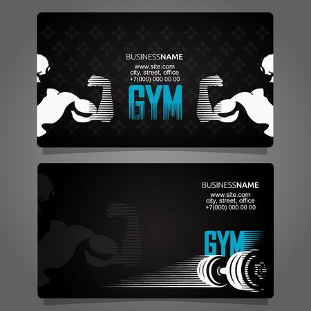 Concepto único de tarjeta de visita de fitness y gimnasio.