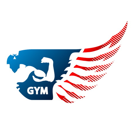 Bodybuilder and wing symbol for gym and fitness