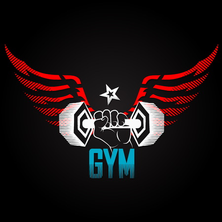 Dumbbell in hand with wings symbol for gym Vector Illustration