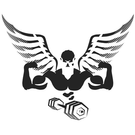 Athlete with wings for gym and fitness silhouette Illustration