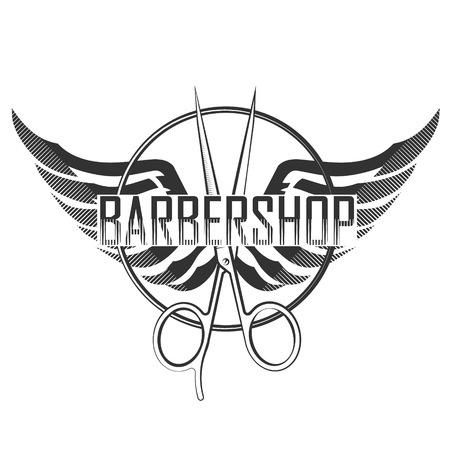 Barbershop silhouette scissors and wings