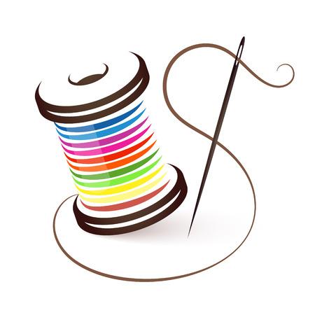 Naald en spoel van gekleurde draden Vector Illustratie