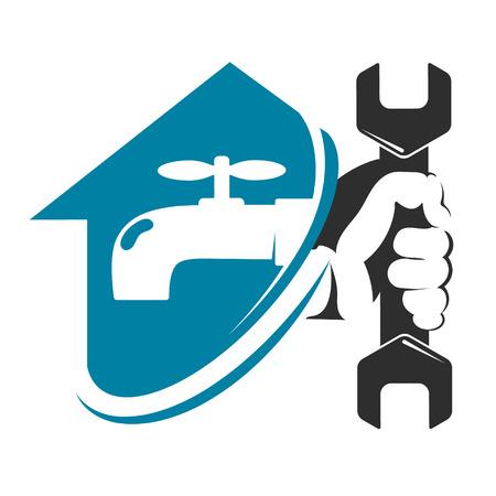 Wasserhahn im Haus und ein Schraubenschlüssel in der Hand reparieren Sanitär