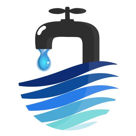 Robinet d'eau et symbole de goutte d'eau pour les entreprises