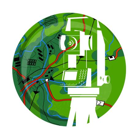 Dispositivo geodésico en el fondo del mapa