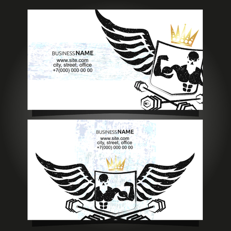 Gym and fitness business card concept vector
