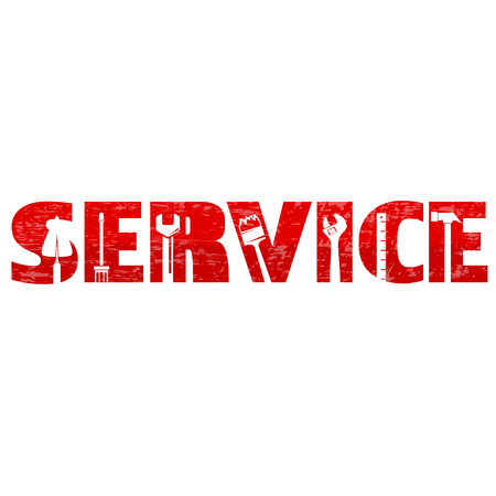 Service and maintenance with vector tool Foto de archivo - 108645727