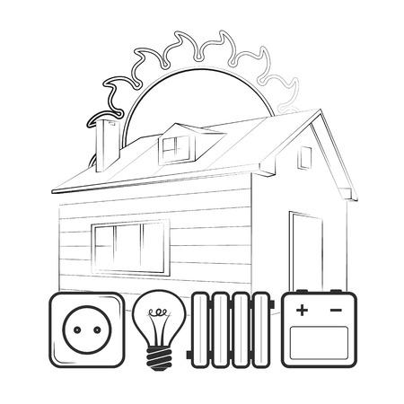 Alternative solar energy for home silhouette Ilustração