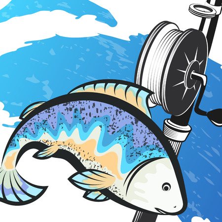 Fish on blue wave and fishing rod