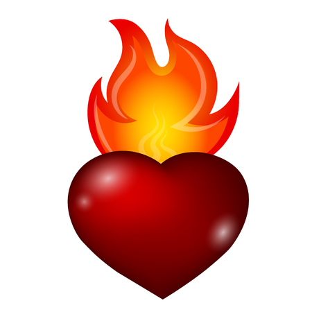 Fire over red heart vector