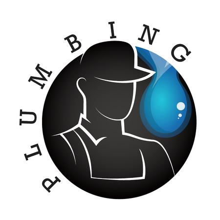 Plumber in uniform silhouette