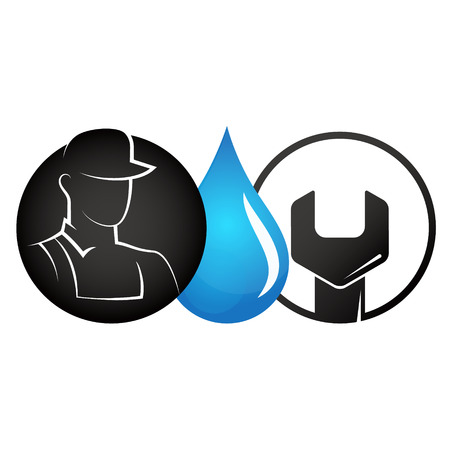 Plumber, water drop and wrench symbol