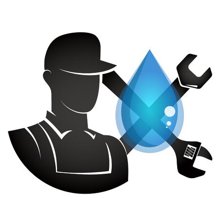 Plumber and water drop symbol vector
