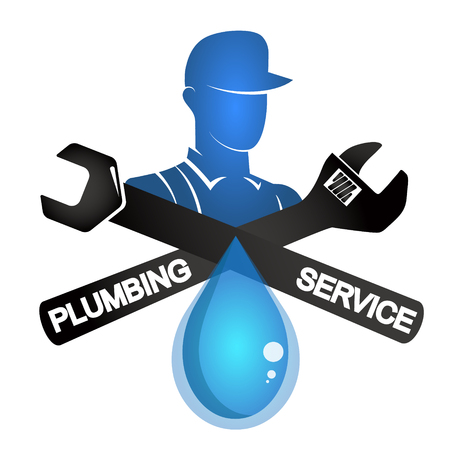 Plumber and tool symbol for repair