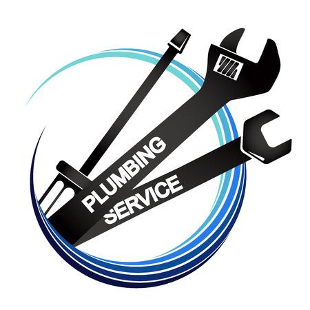 Plumbing service tool symbol for business Vector Illustratie
