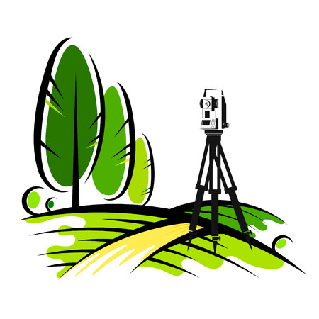 Geodetic instrument in a field with trees Vector Illustration