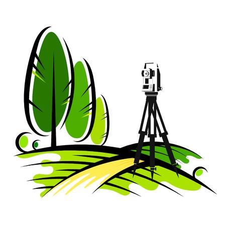 Instrumento geodésico en un campo con árboles Ilustración de vector