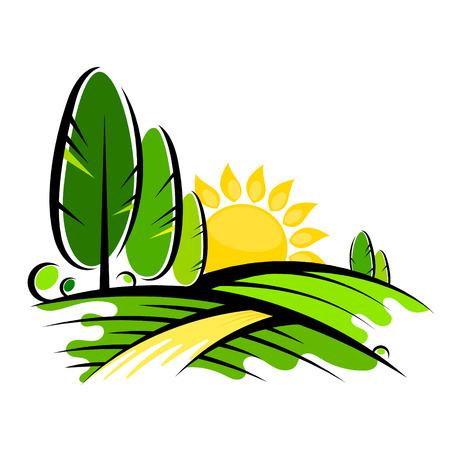 Trees and sun symbol for landscape design Illustration
