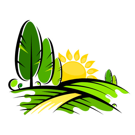 Trees and sun symbol for landscape design Illustration