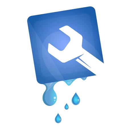 Wrench and water drop symbol for plumbing repair Vector Illustratie