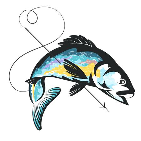 Simbolo di pesce e arpione per la pesca