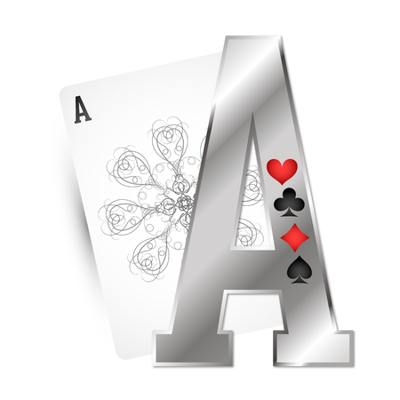 Ace card and different suit symbol for gambling