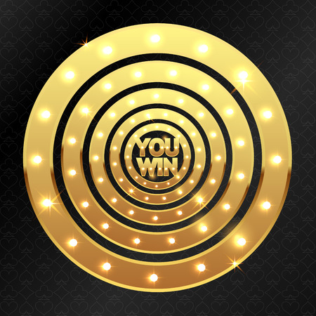 You win and gold glowing circles for the casino
