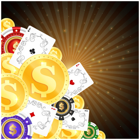 Gold coins, playing cards and casino chips for gambling